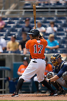 Justin Christian #17 of the Norfolk Tides at bat versus the Toledo Mudhens at Harbor Park June 7, 2009 in Norfolk, Virginia. (Photo by Brian Westerholt / Four Seam Images)