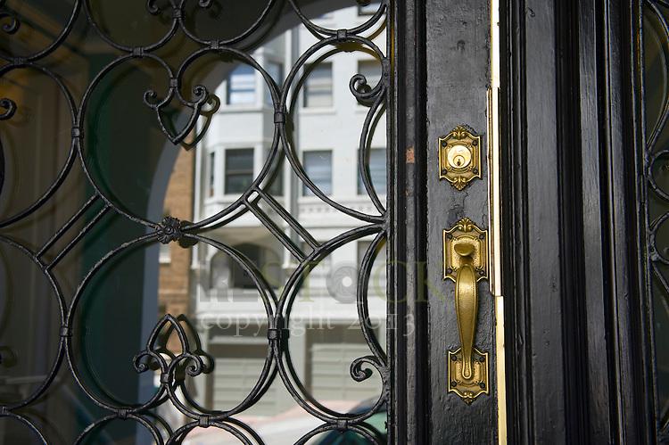 Glass Door with Metal Design