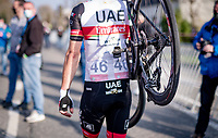 Rui Oliveira (POR/UAE-Emirates) walking over the finish line after snapping his rear derailer in the race finale<br /> <br /> 45th Oxyclean Classic Brugge-De Panne 2021 (ME/1.UWT)<br /> 1 day race from Bruges to De Panne (204km)<br /> <br /> ©kramon