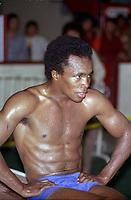 Le boxeur Sugar Ray Leonard<br />  a l'entrainement, le 16 juin 1980 <br /> <br /> PHOTO : Agence Quebec Presse
