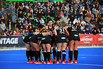 The Black Sticks huddle before a penalty corner during the Sentinel Homes Trans Tasman Series hockey match between the New Zealand Black Sticks Women and the Australian Hockeyroos at Massey University Hockey Turf in Palmerston North, New Zealand on Sunday, 30 May 2021. Photo: Dave Lintott / lintottphoto.co.nz