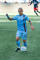 FOXBOROUGH, MA - SEPTEMBER 19: Alexandru Mitrita #28 of New York City FC during a game between New York City FC and New England Revolution at Gillette on September 19, 2020 in Foxborough, Massachusetts.