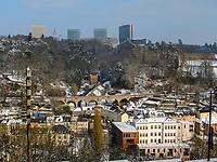 Pfaffenthal und Europazentrum auf dem Kirchberg, Luxemburg-City, Luxemburg, Europa, Luxembourg City, Europe