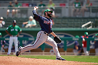 Minnesota Twins pitcher Matt Shoemaker (32) during a Major League Spring Training game against the Boston Red Sox on March 17, 2021 at JetBlue Park in Fort Myers, Florida.  (Mike Janes/Four Seam Images)