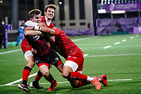 16th October 2020, Stade Maurice David, Aix-en-Provence, France;  Challenge Cup Rugby Final Bristol Bears versus RC Toulon;  Baptiste Serin (RC Toulon) cannot stop the try by Harry Randall (Bristol Bears) with Raphael Lakafia (RC Toulon)