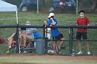 A few fans chose to wear face masks during the Covid-19 pandemic as they watch the baseball game between the Dry Pond Blue Sox and the Mooresville Spinners at Moor Park on July 2, 2020 in Mooresville, NC.  The Spinners defeated the Blue Sox 9-4. (Brian Westerholt/Four Seam Images)