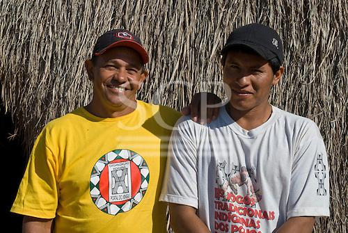 Xingu Indigenous Park, Mato Grosso State, Brazil. Aldeia Yawalapiti. Boatmen Aparecido and Ari Matipu.