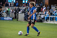 SAN JOSE, CA - MAY 12: Cade Cowell #44 of the San Jose Earthquakes looks up to pass the ball during a game between San Jose Earthquakes and Seattle Sounders FC at PayPal Park on May 12, 2021 in San Jose, California.