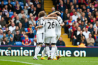 Sun 22 September 2013<br /> <br /> Pictured: Nathan Dyer of Swansea celebrates his 2nd half goal against Palace surrounded by Jose Canas  of Swansea Alvaro Vasquez and Chico Flores of Swansea<br /> <br /> Re: Barclays Premier League Crystal Palace FC  v Swansea City FC  at Selhurst Park, London
