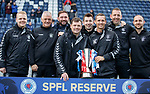 06.05.2019 Falkirk v Rangers reserves: Graeme Murty and his backroom team with the SPFL Reserve League trophy