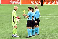 ATLANTA, GA - SEPTEMBER 02: Brad Guzan #1 of Atlanta United FC discusses calls by the referees during a game between Inter Miami CF and Atlanta United FC at Mercedes-Benz Stadium on September 02, 2020 in Atlanta, Georgia.