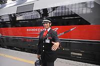 - Treno Eurostar Freccia Rossa nella stazione di Milano Centrale<br /> <br /> - Eurostar Red Arrow train in  Milan Central station