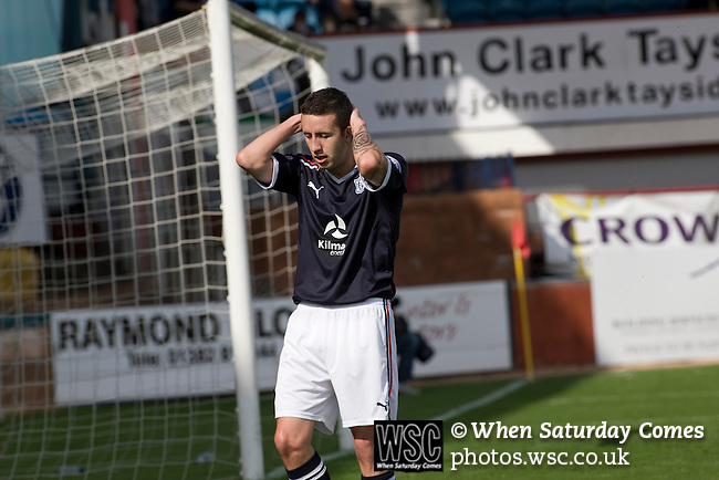 Dundee 0 Greenock Morton 1, 27/08/2011. Dens Park, Scottish League First Division. Dundee's midfielder Ross Chisholm reacts to missing a chance during a Scottish League First Division match at Dens Park stadium against visitors Greenock Morton. The visitors won by one goal to nil watched by a crowd of 4,096. Dundee  stadium was situated on the same street as their city rival Dundee United, whose Tannadice Park ground was situated a few hundred yards away.