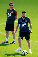 Spain's coach Julen Lopetegui (l) and Sergio Busquets during training session. May 31,2018.(ALTERPHOTOS/Acero) /NortePhoto.com