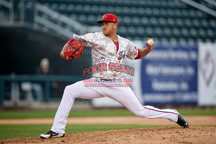 Harrisburg Senators relief pitcher Ismael Guillon (30) delivers a pitch during the second game of a doubleheader against the New Hampshire Fisher Cats on May 13, 2018 at FNB Field in Harrisburg, Pennsylvania.  Harrisburg defeated New Hampshire 2-1.  (Mike Janes/Four Seam Images)