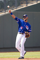Round Rock Express shortstop Luis Sardinas (15) makes a throw to first base during the first game of a Pacific Coast League doubleheader against the Memphis Redbirds on August 3, 2014 at the Dell Diamond in Round Rock, Texas. The Redbirds defeated the Express 4-0. (Andrew Woolley/Four Seam Images)