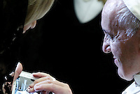 Papa Francesco tiene un'udienza ai familiari delle vittime dell'attacco terroristico di Nizza, in Aula Paolo VI, Citta' del Vaticano, 24 settembre 2016.<br /> Pope Francis attends an audience with relatives of the terrorist attack victims in Nice at the Paul VI hall in Vatican City, 24 September 2016.<br /> UPDATE IMAGES PRESS/Riccardo De Luca<br /> <br /> STRICTLY ONLY FOR EDITORIAL USE