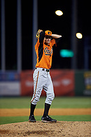 Pitcher Cole Ragans (14) of North Florida Christian School in Crawfordville, Florida playing for the Baltimore Orioles scout team during the East Coast Pro Showcase on July 29, 2015 at George M. Steinbrenner Field in Tampa, Florida.  (Mike Janes/Four Seam Images)