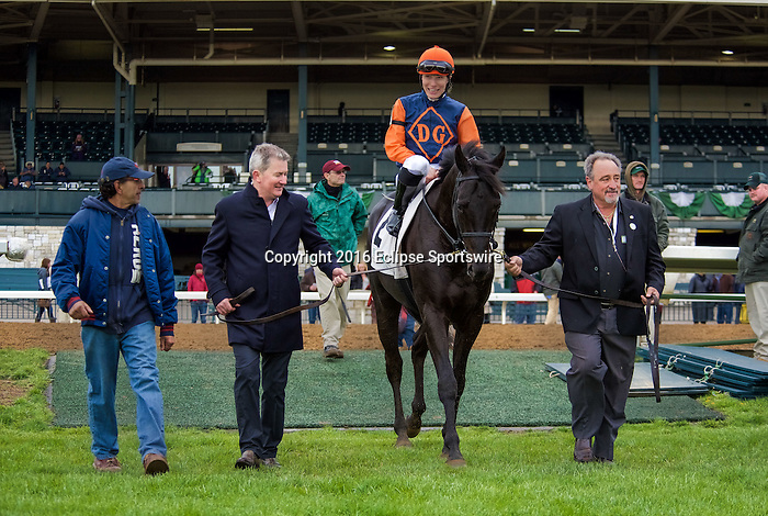 LEXINGTON, KY- APRIL 08: #2 Shakhimat with jockey Emma-Jayne Wilson up wins the Grade III Transylvania Presented by Keeneland Select on April 08, 2016 in Lexington, Kentucky.  (Photo by Samantha Bussanch/Eclipse Sportswire/Getty Images)