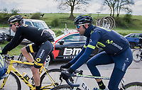 #1 Alejandro Valverde (ESP/Movistar) all wrapped up against the (very) cold wind<br /> <br /> 81st La Flèche Wallonne (1.UWT)<br /> One Day Race: Binche › Huy (200.5km)