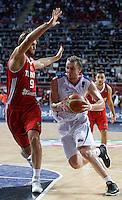 Dusko SAVANOVIC (Serbia)  passes Semih ERDEN (Turkey) during the semi-final World championship basketball match against Turkey in Istanbul, Serbia-Turkey, Turkey on Saturday, Sep. 11, 2010. (Novak Djurovic/Starsportphoto.com) .