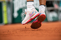 28th September 2020, Roland Garros, Paris, France; French Open tennis, Roland Garros 2020; The shoes of Rafael Nadal as he competes during the mens singles first round match versus Egor Gerasimov of Belarus