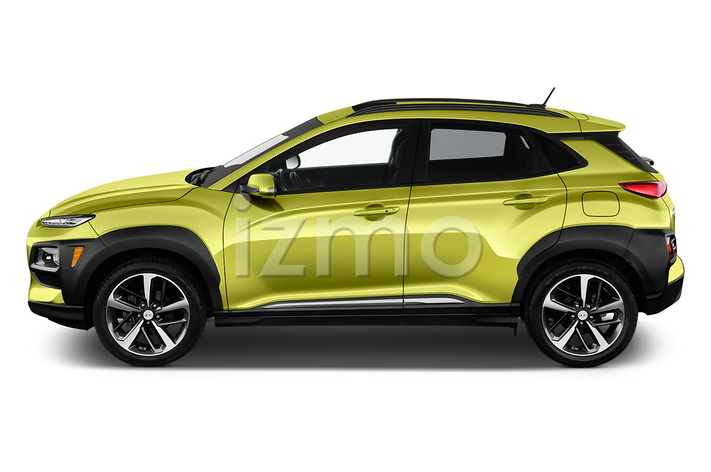 Car Driver side profile view of a 2018 Hyundai Kona Limited 5 Door SUV Side View