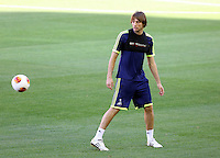 Valencia, Spain. Wednesday 18 September 2013<br /> Pictured: Michu.<br /> Re: Swansea City FC training ahead of their UEFA Europa League game against Valencia C.F. at the Estadio Mestalla, Spain,