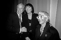 la stilista Mariuccia Mandella in arte Krizia con Franco Zeffirelli e Lina Wertmuller