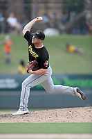 Pitcher Bryan Pall (23) of the West Virginia Power delivers a pitch in a game against the Greenville Drive on Sunday, May 19, 2019, at Fluor Field at the West End in Greenville, South Carolina. Greenville won, 8-4. (Tom Priddy/Four Seam Images)