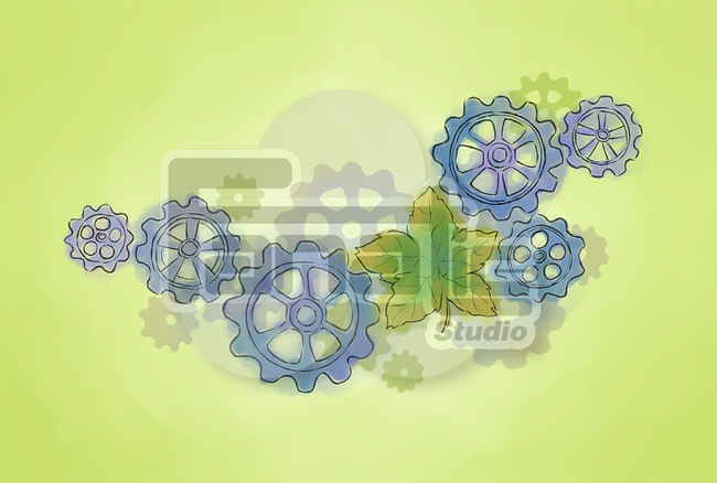 Illustrative image of gears and leaf representing go green concept