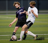 Waunakee's Lane Miller (11) fights for the ball against Oregon's Micah Mitchell (16), as Oregon takes on Waunakee in Wisconsin WIAA Badger Conference boys high school soccer on Tuesday, Apr. 27, 2021 at Waunakee High School
