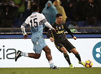 Football, Serie A: S.S. Lazio - Juventus, Olympic stadium, Rome, January 27, 2019. <br /> Juventus' Cristiano Ronaldo (r) in action with Lazio's Bastos (l) during the Italian Serie A football match between S.S. Lazio and Juventus at Rome's Olympic stadium, Rome on January 27, 2019.<br /> UPDATE IMAGES PRESS/Isabella Bonotto