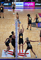 NZ Men goal attack Daniel Jeffries shoots for goal during the Cadbury Netball Series final between NZ Silver Ferns and NZ Men at the Fly Palmy Arena in Palmerston North, New Zealand on Saturday, 24 October 2020. Photo: Dave Lintott / lintottphoto.co.nz