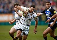 Photo: Richard Lane/Richard Lane Photography. Bath Rugby v London Wasps. Aviva Premiership. 21/04/2012. Wasps' Chris Mayor attacks.