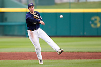 Cam Schiller (9) of the Oral Roberts Golden Eagles attempts to make a play at first during a game against the Missouri State Bears on March 27, 2011 at Hammons Field in Springfield, Missouri.  Photo By David Welker/Four Seam Images