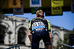Jack Haig (AUS) Mitchelton-Scott at sign on before the start of Stage 16 of the 2019 Tour de France running 177km from Nimes to Nimes, France. 23rd July 2019.<br /> Picture: ASO/Pauline Ballet   Cyclefile<br /> All photos usage must carry mandatory copyright credit (© Cyclefile   ASO/Pauline Ballet)