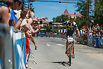 Geoff Kabush, pro mens rider, is the first to cross the finish line for the Men's Pro race during the Epic Rides' Inaugural Carson City Off-Road event on Sunday, June 19, 2016 in Carson City, Nev.<br /> Photo by Kevin Clifford/Nevada Photo Source
