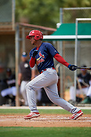 GCL Cardinals right fielder Jhon Torres (33) grounds out during a game against the GCL Marlins on August 4, 2018 at Roger Dean Chevrolet Stadium in Jupiter, Florida.  GCL Marlins defeated GCL Cardinals 6-3.  (Mike Janes/Four Seam Images)