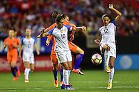 Atlanta, GA - Sunday Sept. 18, 2016: Carli Lloyd, Christen Press during a international friendly match between United States (USA) and Netherlands (NED) at Georgia Dome.