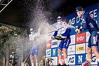 Yves Lampaert (BEL/Deceuninck-QuickStep) wins the 44th AG Driedaagse Brugge-De Panne 2020 (1.UWT / BEL) and gets a champagne shower by runner up Tim Declercq (BEL/Deceuninck-QuickStep) & 3rd finisher Tim Merlier (BEL/Alpecin-Fenix)<br /> <br /> 1 day race from Brugge to De Panne (203km shortened to 188km due to the windy weather conditions) <br /> <br /> ©kramon