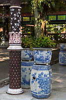 Yogyakarta, Java, Indonesia.  Ceramic Flower Pots and Column Adjacent to the Dining Area, Sultan's Palace.