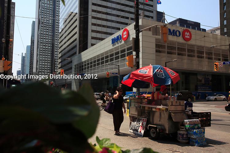 Toronto (ON) CANADA - July 2012 - Bay Street Financial District : BMO,on King street corner bay