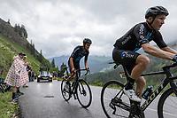 Tiesj Benoot (BEL/DSM) and Soren Kragh Andersen (DEN/DSM) up the Col de la Colombière<br /> <br /> Stage 8 from Oyonnax to Le Grand-Bornand (150.8km)<br /> 108th Tour de France 2021 (2.UWT)<br /> <br /> ©kramon