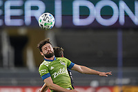 SAN JOSE, CA - OCTOBER 18: Joao Paulo #6 of the Seattle Sounders goes up for a header during a game between Seattle Sounders FC and San Jose Earthquakes at Earthquakes Stadium on October 18, 2020 in San Jose, California.