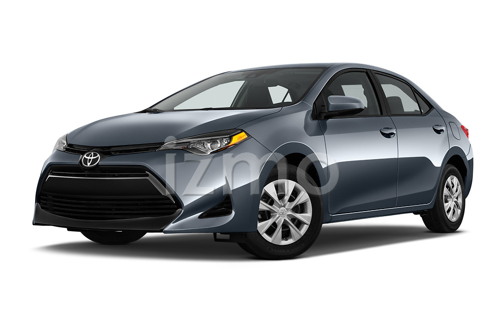 Stock pictures of low aggressive front three quarter view of a 2018 Toyota Corolla L 4 Door Sedan