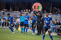 SAN JOSE, CA - MAY 12: Chris Wondolowski #8 of the San Jose Earthquakes comes on for Cade Cowell #44 of the San Jose Earthquakes during a game between San Jose Earthquakes and Seattle Sounders FC at PayPal Park on May 12, 2021 in San Jose, California.