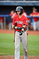 Potomac Nationals shortstop Carter Kieboom (5) at bat during the first game of a doubleheader against the Salem Red Sox on June 11, 2018 at Haley Toyota Field in Salem, Virginia.  Potomac defeated Salem 9-4.  (Mike Janes/Four Seam Images)