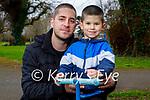Aleksej Tasic with his dad Slovodan enjoying the Tralee town park on Monday.