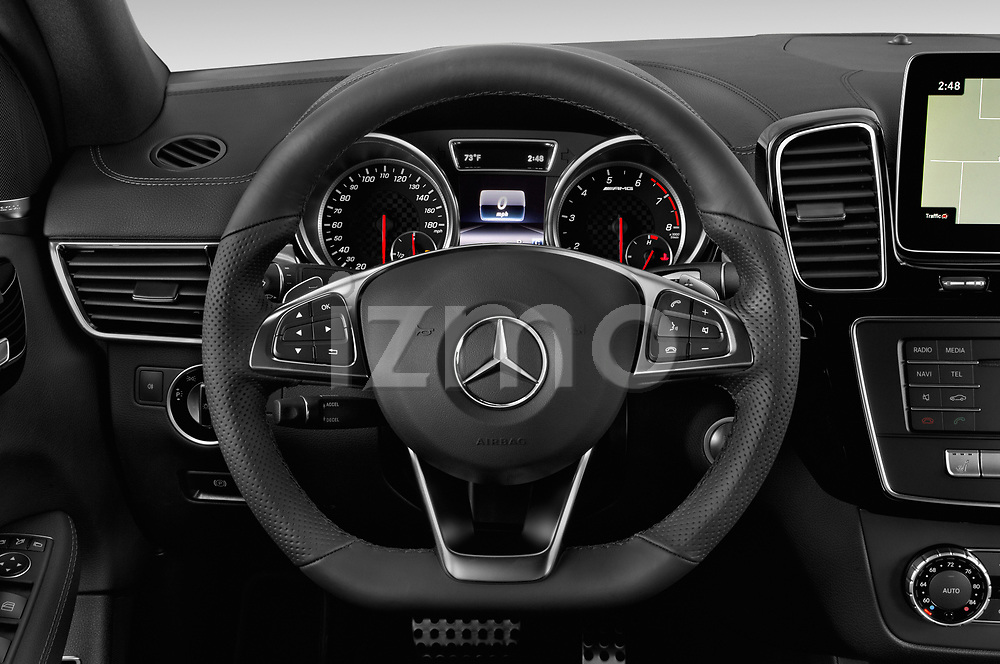 Car pictures of steering wheel view of a 2019 Mercedes Benz GLE Coupe AMG GLE43 5 Door SUV